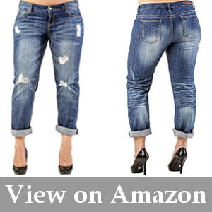 flattering boyfriend jeans for plus size women